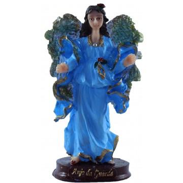 Escultura Anjo da guarda 14 cm cor azul resina