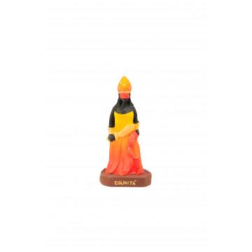 Escultura Egunitá laranja 10 cm em  resina - orixá do fogo. proteção e aberturas de caminhos.