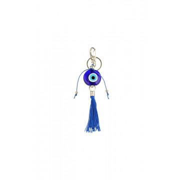 Chaveiro Olho grego murano azul pompom