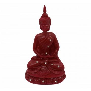 Buda meditando 12cm resina vermelho