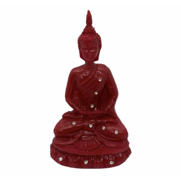 Buda meditando 13 cm vermelho em resina