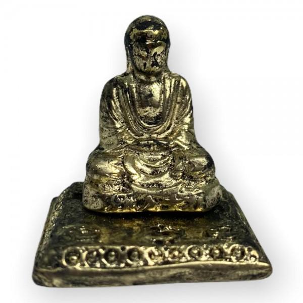 Escultura Buda Incensário mini 3 cm metal dourado - meditação