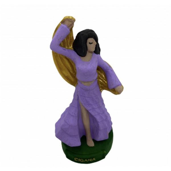Escultura Cigana lilás 11 cm em resina