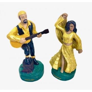 Ciganos casal dourado 11cm resina