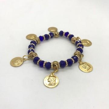 Pulseira Cigana azul escuro cristal e silicone com moedas