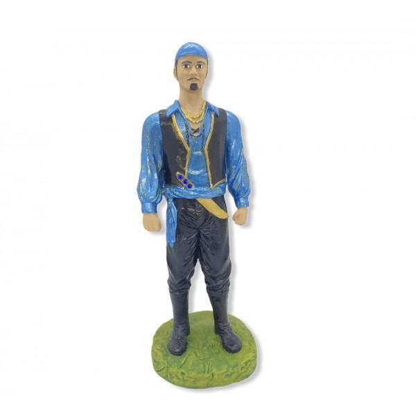 Escultura Cigano Azul metalizado 25 cm resina
