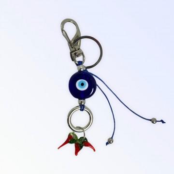 Chaveiro Olho grego azul 12 cm murano patuá em pimentas