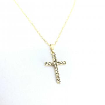 Corrente crucifixo strass cristal peq dourada