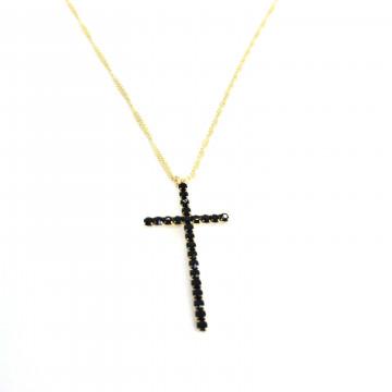 Corrente crucifixo strass preto peq dourada