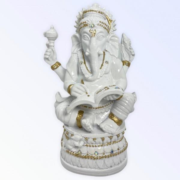Ganesh da Sabedoria do  Livro 17 cm Branco com dourado em resina