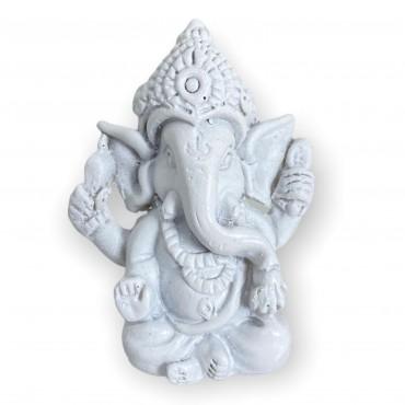Escultura Ganesh meditando sentado 5 cm branco em resina