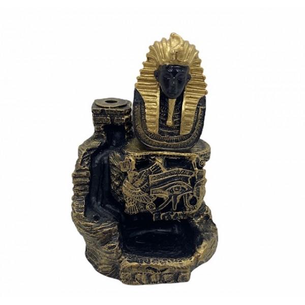 Incensário cascata Tutankamon preto e dourado 12 cm em resina