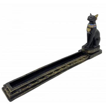 Incensário Egípcio Bastet preto e dourado 25x4x11 cm 47-4367