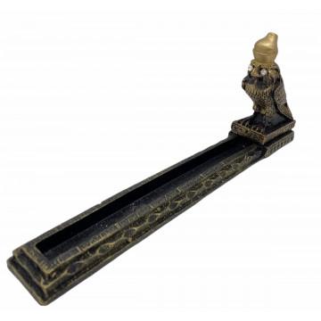 Incensário régua Egípcio Hórus 25x4x10 preto e Dourado 47-428