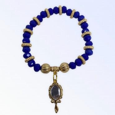 Pulseira Oxum azul com abebê dourado cristal e silicone