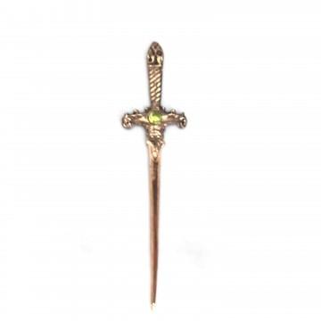 Punhal metal cobre envelhecido 15 cm pedra verde