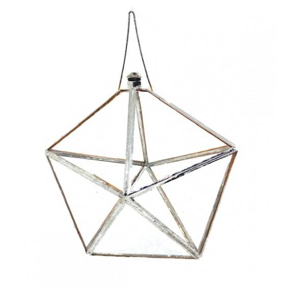 Prisma D`Àgua Feng Shui pentágono 12, cm em vidro e metal