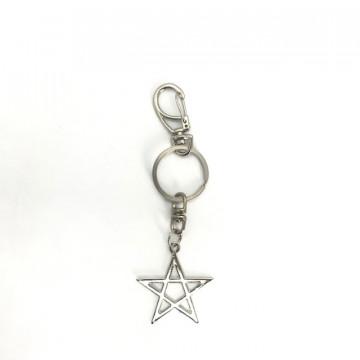Chaveiro Pentagrama vazado 13 cm metal Níquel
