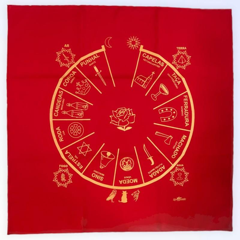 Toalha para jogos de cartas ciganas 70 x 70 cm vermelha