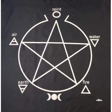 Toalha pentagrama para altar 70x70cm PRETA