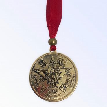 Tetragramaton pentagrama em metal dourado 4 cm com fita vermelha para parede - simbolo de proteção