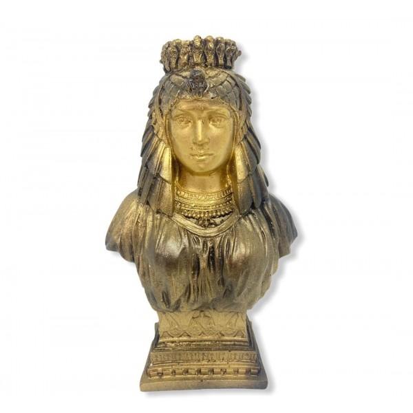 Escultura  Busto de Isis dourada 19 cm em resina