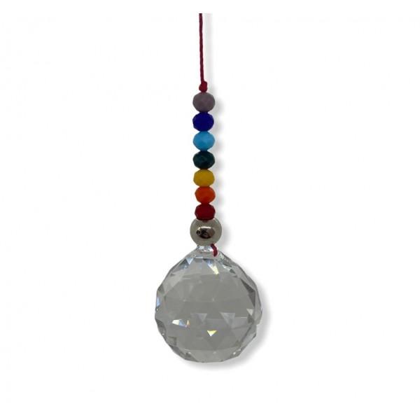 Cristal multifacetado transparente Feng Shui 40 mm e 7 contas coloridas  para pendurar