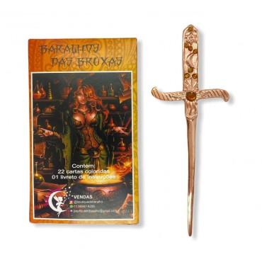 Kit Baralhao Tarot Das Bruxas punhal cobre com pedra dourada