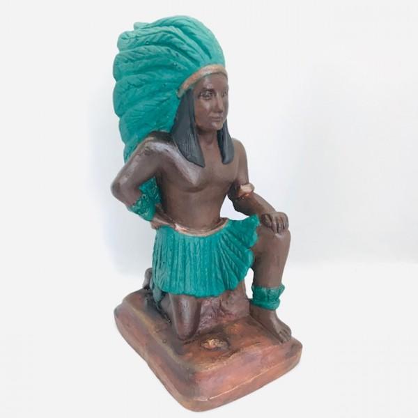 Escultura Caboclo Pena verde 23 cm em  resina