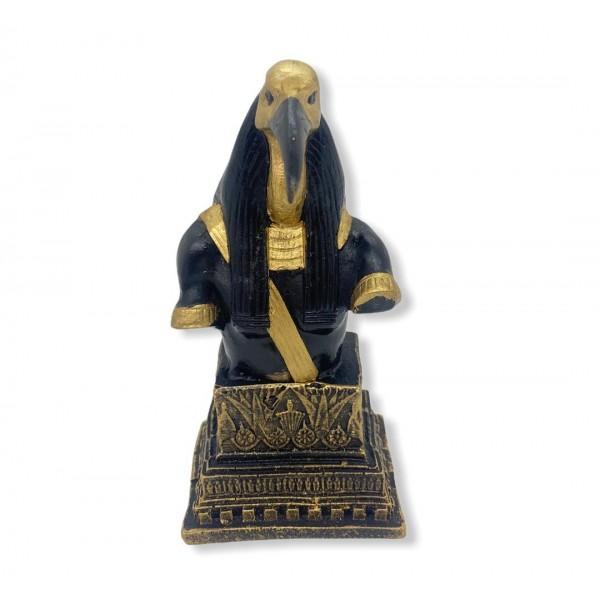 Escultura Busto de Thot preto com dourado 14,5 cm em resina